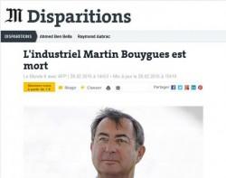 Décès de Martin Bouygues